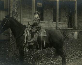 "Vintage Real Photo Postcard ""Charlie's First Ride"" Riding Horse Antique RPPC Photo Black & White Photograph Paper Ephemera Vernacular - 174"