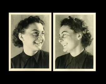 "2 pc - Vintage Photos ""Laughing at Herself"" Girl Snapshot Photo Lot Black & White Photograph Found Photo Paper Ephemera Vernacular - 183"