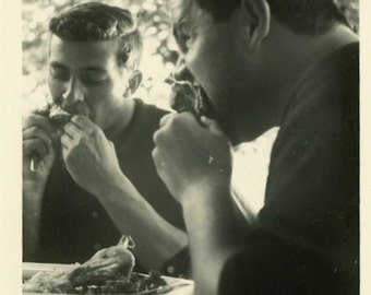 "Vintage Photo ""Barbecue Brothers"" Lunch Men Eating Food Snapshot Antique Photo Black & White Photograph Found Paper Ephemera Vernacular - 29"