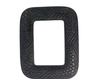 Black Brass Snake Skin Pattern Rectangle Large Frame Stamping 65 mm x 53 mm Qty 1 Made in the USA