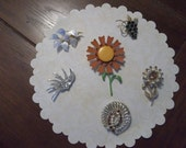 Collection of Six Vintage Brooches or Pins