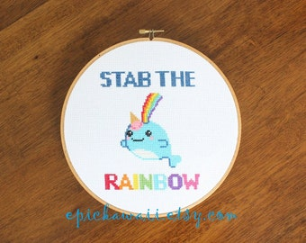 "PATTERN: Ice Cream Rainbow Narwhal Narwhale Sea Unicorn ""Stab the Rainbow"" Cross Stitch"