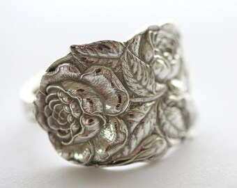 RARE Antique Sterling Silver Ring - Rose, 1903