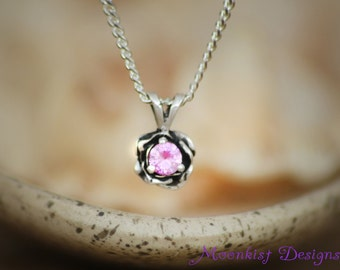 Dainty Pink Sapphire Rose Solitaire Silver Necklace - Silver Pink Rose Layering Pendant and Chain - Sculptured Pink Flower Pendant Necklace