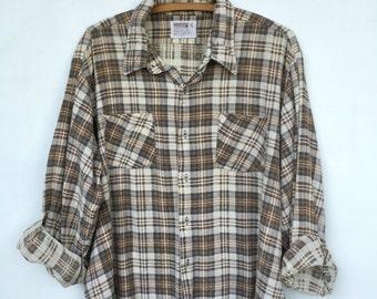 Vintage Cotton Distressed Montgomery Ward Flannel Shirt XL