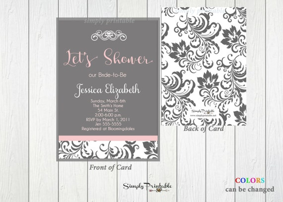 Bridal Shower Invitation, Damask Pink Grey Bridal Shower Invite, Modern Shower Invitation, Baby Shower Invitation, Printed Invites, Birthday