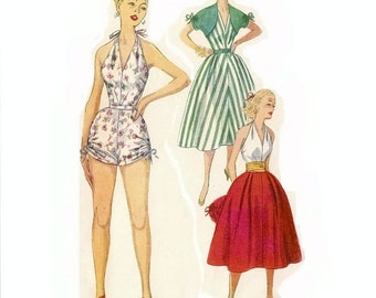 1950s Playsuit or Bathing Suit Pattern, Halter One Piece Playsuit, UNCUT, Bust 32 Size 14, Simplicity 4338, Misses Vintage Sewing Pattern