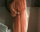 Blush chiffon maxi dress, boho style dress with slip dress, boho wedding dress
