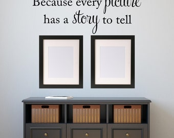 Because every picture has a story to tell Wall Decal Photo Gallery Vinyl Lettering Wall Words Picture Gallery Vinyl Wall Art Home Decor