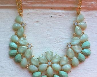 Mint Flower bib Necklace, J Crew necklace, mint statement necklace, Gold necklace, Mint and gold Necklace, J Crew, jewelry, necklace