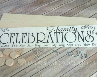 Family Birthday Board, DIY KIT, Celebration Board Diy Kit, Birthday Calendar Diy Kit, Family Celebrations Diy Kit, Wall Hanging