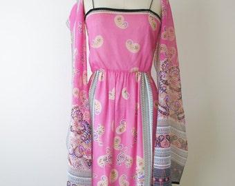 1970s Dominic Rompollo Pink Border Print Dress