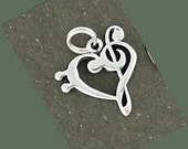 Sterling Silver Music Note Bass and Treble Clef Heart Charm Pendant