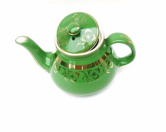 Vintage Hall Teapot, Green Gold Hall China Tea Pot, Squatty Tea Maker, 6 Cup Ceramic Pot