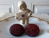 Red Crystal Earrings - Clip Earrings, Red and Black Earrings, Christmas, Valentines, Gift Idea, Gift Exchange, Birthday, Vintage Earrings