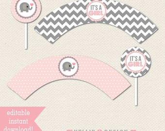 Editable Cupcake TOPPERS and WRAPS - Elephant Baby Shower - Instant Download