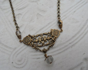 Filigree Gold and Frosted Glass Necklace // White and Gold // Chain