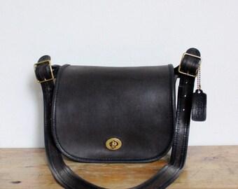 Vintage Coach Bag // Small Shoulder Bag Black //  NYC Coach Leather Purse New York City Excellent Condition