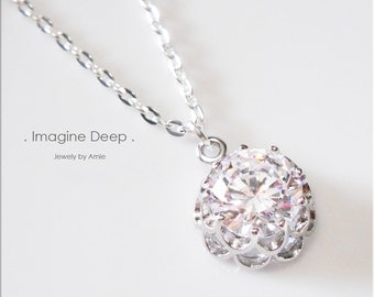 Crystal Solitaire Necklace CZ Diamond like Silver Plated Holiday Bridesmaid Wedding Birthday Elegant Necklace 17 18 19 inch 50 % SPECIAL