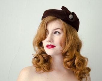 1950s vintage hat / brown pillbox / Henry G. Ross