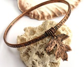 Copper bracelet ~bangle with hawthorn leaf charm hammered  textured rustic stacking bangles 7th wedding anniversary gift  for Mom Mum Mother