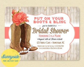 Cowgirl boots and bling invitation // bridal shower invite // country western rustic wedding printable or printed, you choose flower!
