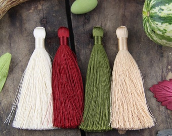 "Fall Colors Tassels, The Original Silky Luxe, 4 Colors: Burgundy, Mossy Green, Cream, Toasted Almond, Jewelry Making Supply, 3.5"", 4 Pieces"