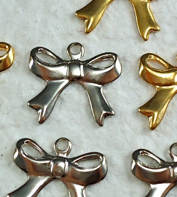 10 Bow Charms Vintage Metal Nickel Silver Plated Stampings 12mm tiny bow charms for necklace earrings bracelets