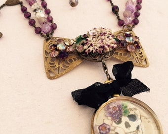 Saved for Erin-Purple Skull with dog - Pendant only