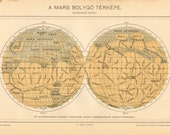 1893 Surface of the Mars, Planet Mars Original Antique Map
