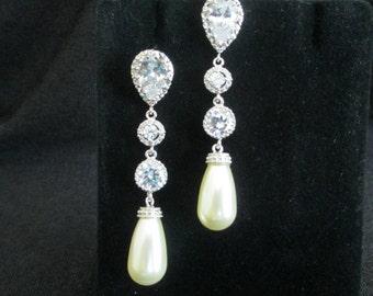 Chandelier Bridal Earrings, Pearl Earrings, CZ Bridal Earrings, Pearl Bridal Jewellery, Post Earrings, Stud Earrings, Wedding Earrings