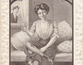 Darned Good- 1900s Antique Postcard- Darning Stockings- Sewing Art- Risque Edwardian- Romance Comic- Stocking Legs- Paper Ephemera
