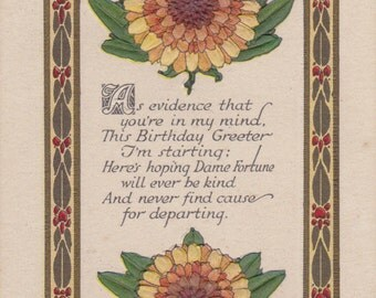 This Birthday Greeter- 1910s Antique Postcard- Thinking of You- Dame Fortune- Chrysanthemum- Edwardian Card- Birthday Series- Paper Ephemera