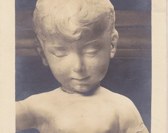 Alabaster Angel- 1920s Antique Photograph- White Marble Cherub- Creepy Photo- Unusual- Strange- Real Photo Postcard- RPPC- Paper Ephemera