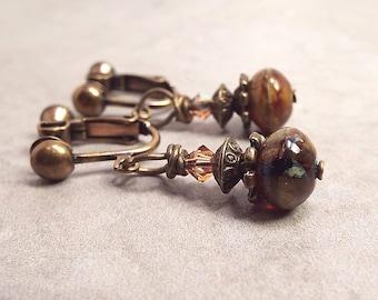 Clip on Earrings, Small Drop Earrings, Screw Back Earrings, Bohemian Jewelry, Rustic Earrings, Clip Earrings, Earth Tones, Boho Earrings