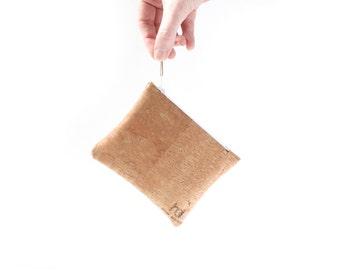 Mini Zip Pouch, EcoFriendly Vegan Laser Cut Handcrafted Cork Fabric Mini Zip Pouch, Sustainable Accessories