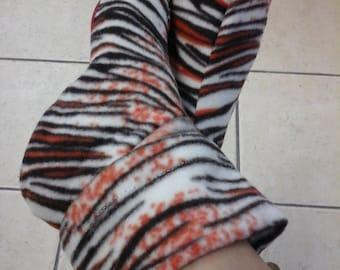 Zebra Animal Print Slipper Booties - Microfleece Slipper Booties - Synthetic Sole Slipper Booties - Indoor  Slipper Booties - by lanesamarie