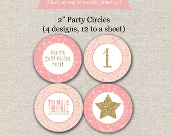 Twinkle Twinkle Little Star Cupcake Toppers, Sticker Labels, Party Circles, pink, gold, first birthday