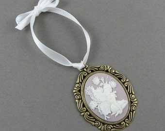 Fairy Ornament - Traditional Vintage Style Cameo Christmas Decor with Mauve and White Flowers