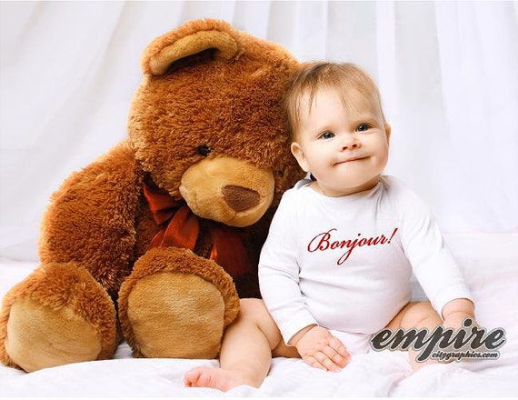 Bonjour/hello Baby tee, Baby outfits, Bilingual Baby tshirts, hello in French tee, kids tshirts, baby onesie,French tees