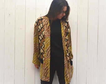 Short Duster Jacket Early 90s Vintage Neutral Abstract Animal Print Large XL 2XL