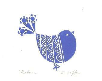 Blue Robin Linocut Print,Blue Bird, Modern Blue Art, Original Print Signed, Bluebirds Linocut