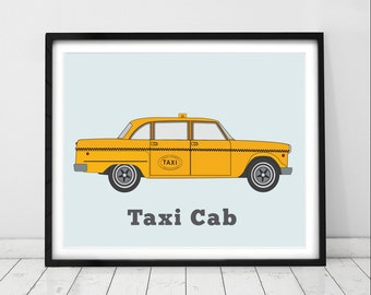 Taxi cab print. Car decor for toddlers. City transportation wall art. Vehicle prints for kids. Toddler boys room.