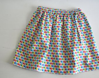 Little hearts Girls Skirt - Toddler Skirt - Girls Clothing - colorful hearts - spring and summer fashion