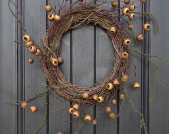 Fall Wreath Autumn Thanksgiving Gift Twig Grapevine Door Wreath Decor Natural Twig Moss
