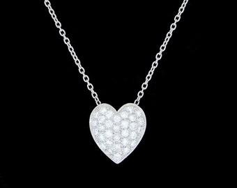 Platinum and VS F+ Diamond Pave Heart Necklace