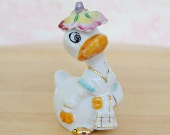 Vintage Anthropomorphic Lady Duck Figurine Made in Japan