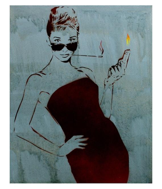 Audrey Hepburn Painting 17x21 Bloodbath At Tiffanys V5 Graffiti on Canvas Street Art Inspired Original Painting Movie Poster Strong Female