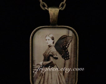 Petite Pendant Necklace, Butterfly Art, Victorian Woman, Slightly Imperfect