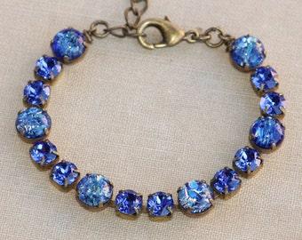 RARE Vintage Sapphire Royal Navy Blue Opal Tennis Bracelet.Vintage Fire Opal Bracelet,Sea Blue Opal,Rhinestone Tennis Bracelet,Wedding,Gift